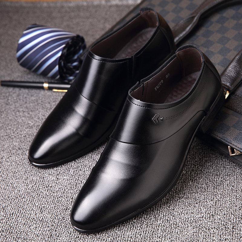Men Microfiber Leather Slip On Business Casual Shoes