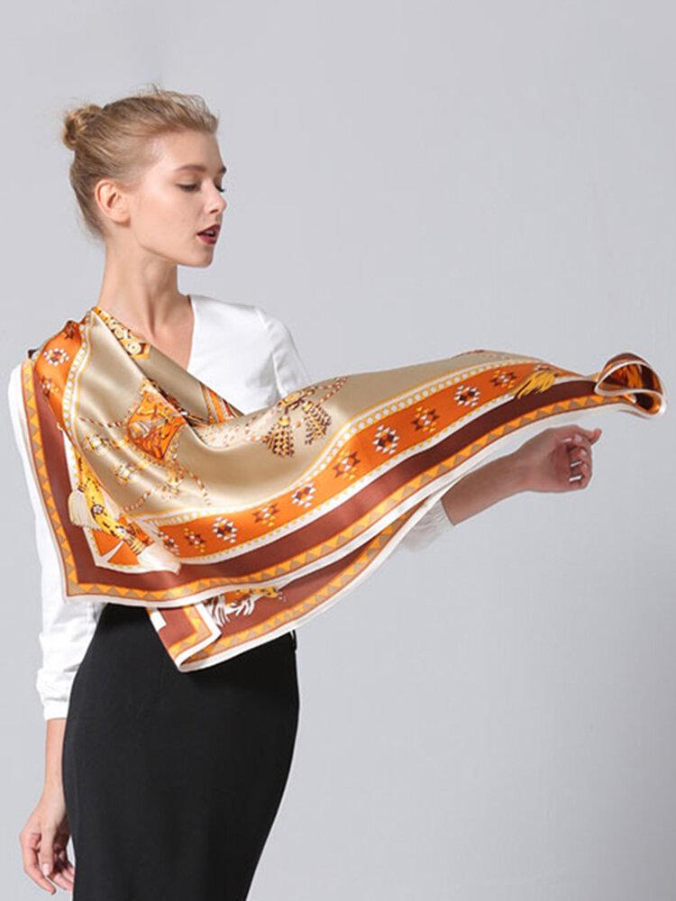 وشاح نسائي مربع من الحرير الخالص مطبوع عليه زهور Soft شال للسفر منشفة حريري دافئة