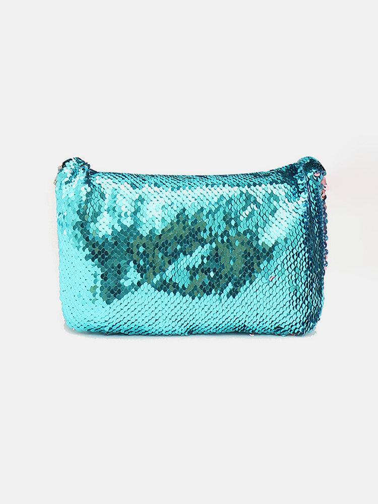 4 Colors Mermaid Sequins Makeup Bag Cosmetic Tools Storage Zipper Purse Handbags