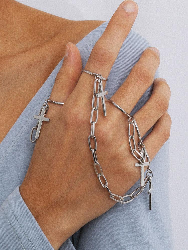 Retro U-shaped Chain Punk Jewelry Creative Personality Metal Cross Tassel Ring Set