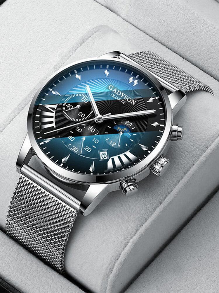 Business Men Watch Luminous Date Display Metal Mesh Belt Quartz Watch