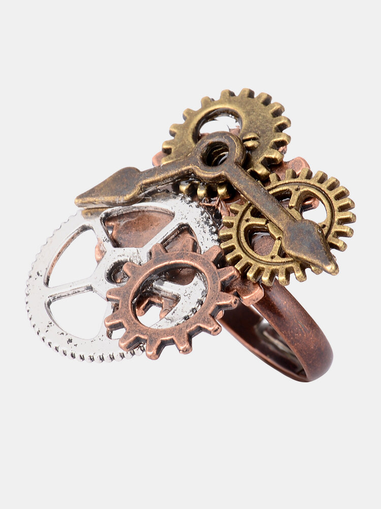 Vintage Gear Components and Clock Pointer Steampunk Ring Unique Personalized Open Ring for Men Women