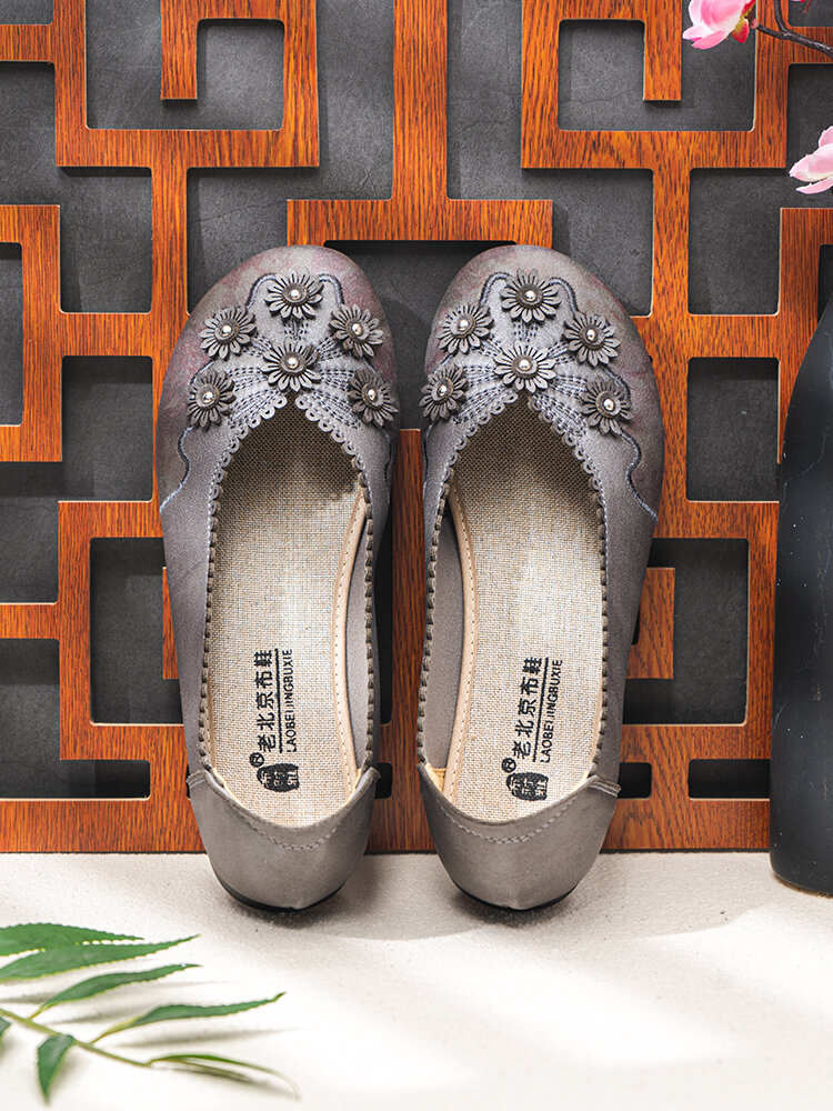 Women Embroidered Flower Decoration Jagged Side Solid Color Comfortable Ballet Flats Shoes