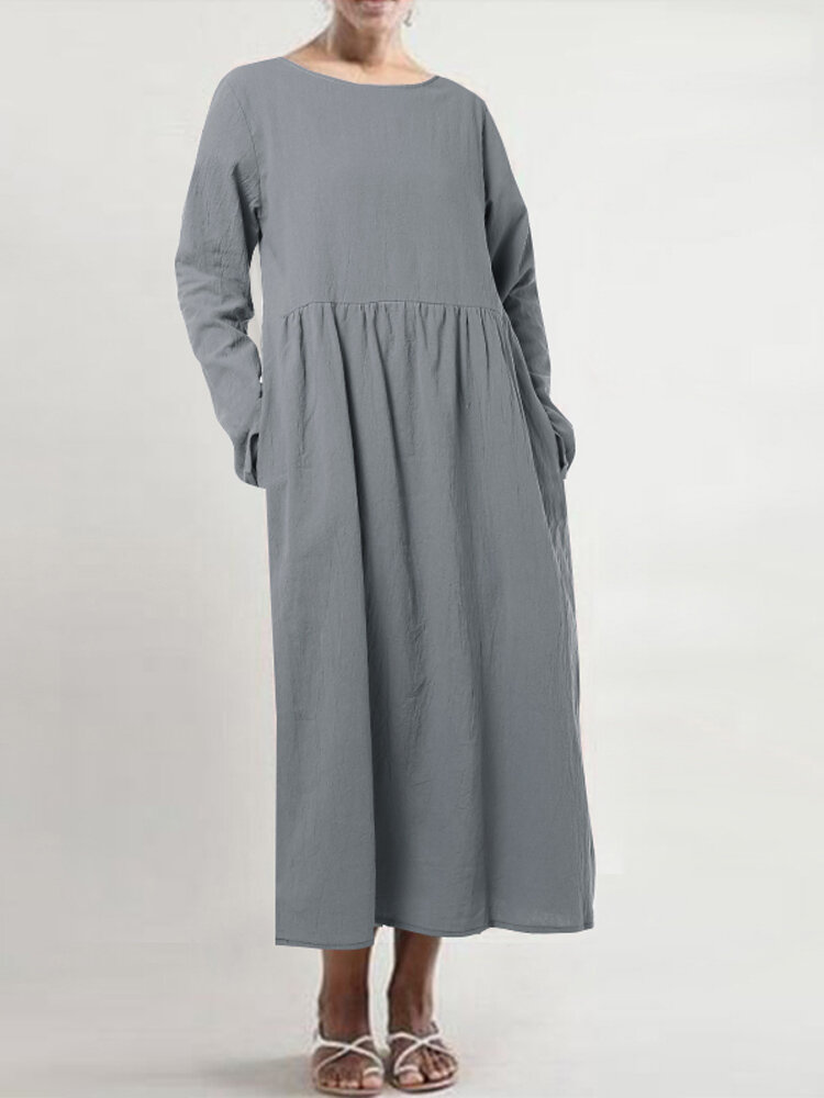 Casual Solid Color Pleated Long Sleeve Plus Size A-line Dress