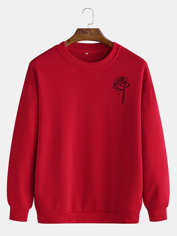 Mens Cotton Rose Printing Plain Casual Crew Neck Pullover Sweatshirts