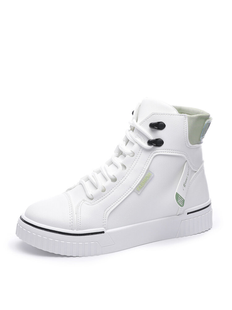 Women Casual Splicing Increased Heel Lace Up High Top Court Sneakers