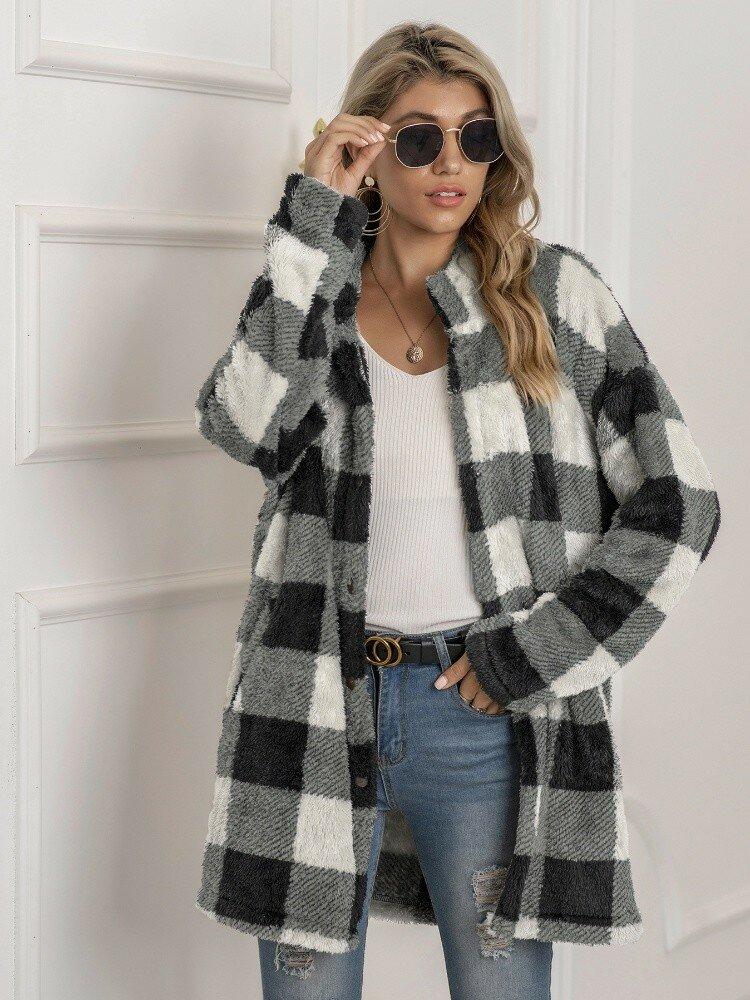 Plaid Print Plush Long Sleeve Casual Coat for Women