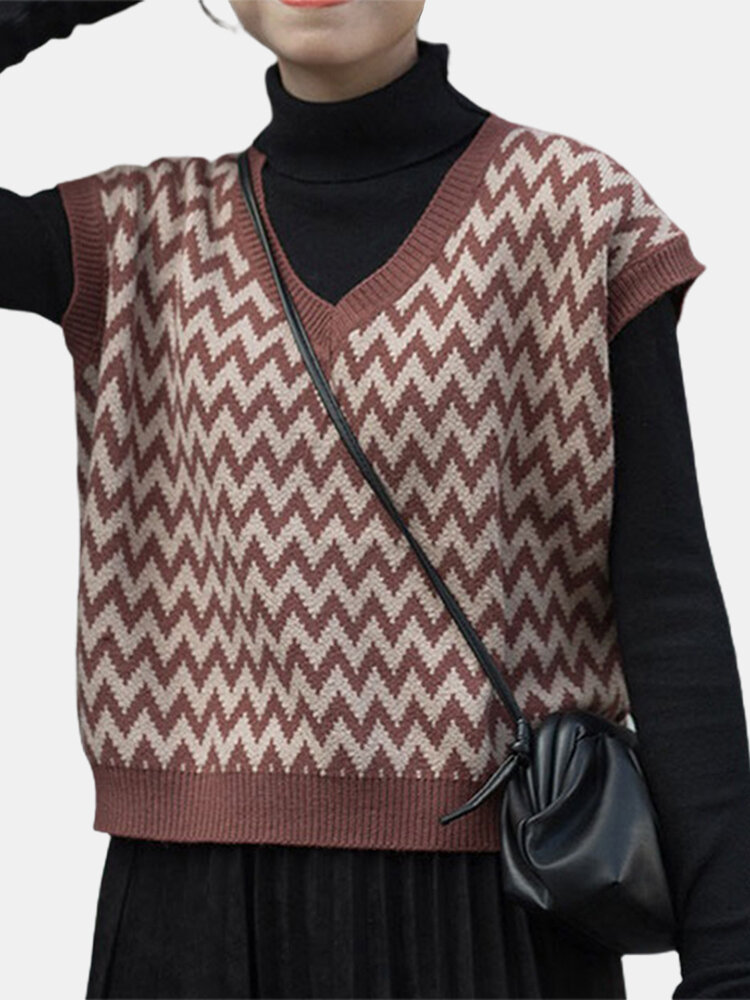 Casual Striped Printed V-neck Knitting Sleeveless Sweater