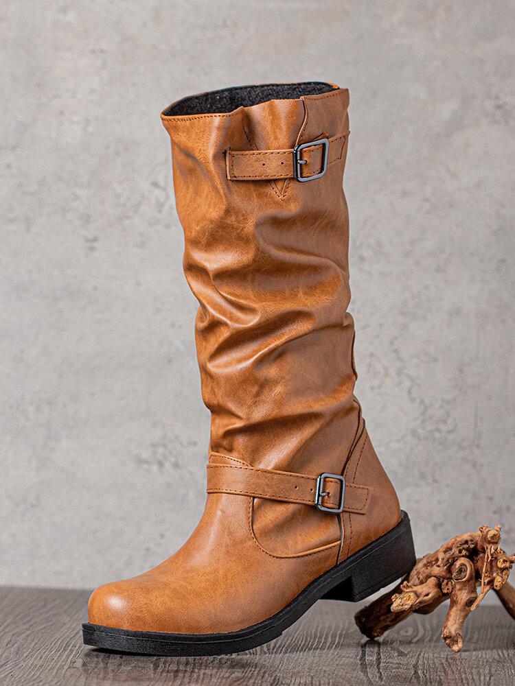 Women Retro Round Toe Buckle Strap Mid-calf Knight Boots
