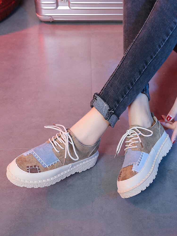 Color Block Patchwork Lace-up Loafers Outfit Women's Stitching Comfy Flats