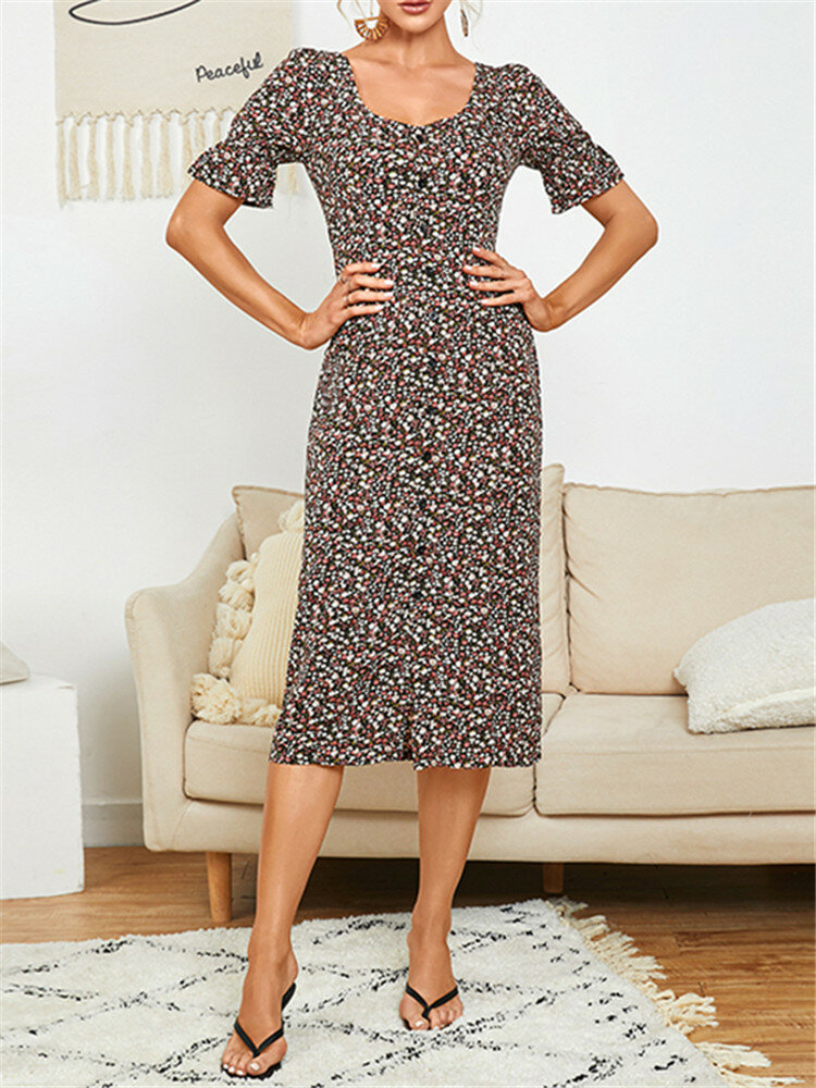 Floral Knotted Button Square Collar Print Dress For Women