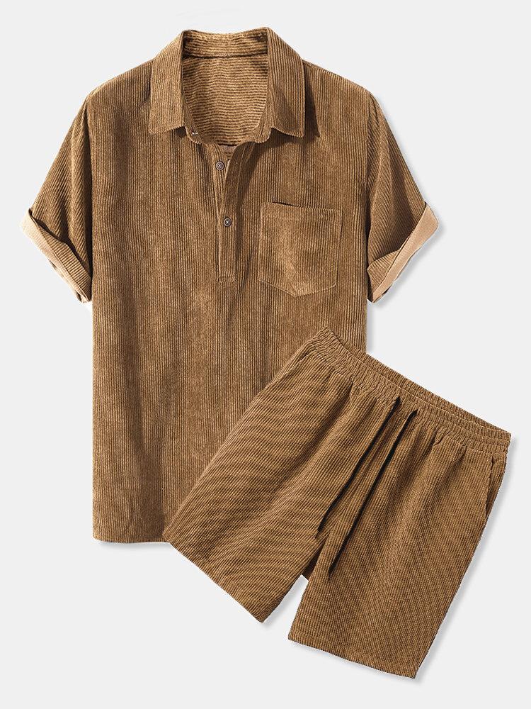 メンズシンコーデュロイソリッド通気性半袖シャツ&ショーツセットポケット付き