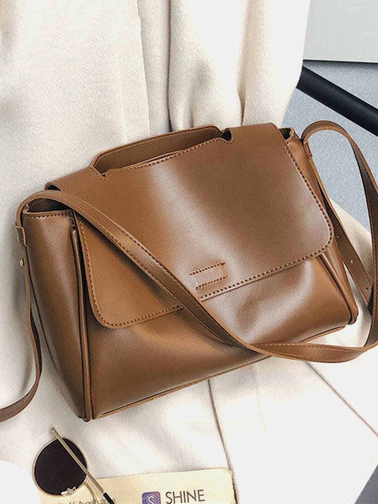 Women's Soft Faux Leather Temperament Commuter Large Capacity Flip Bag Retro Shoulder Messenger Bag Handbag