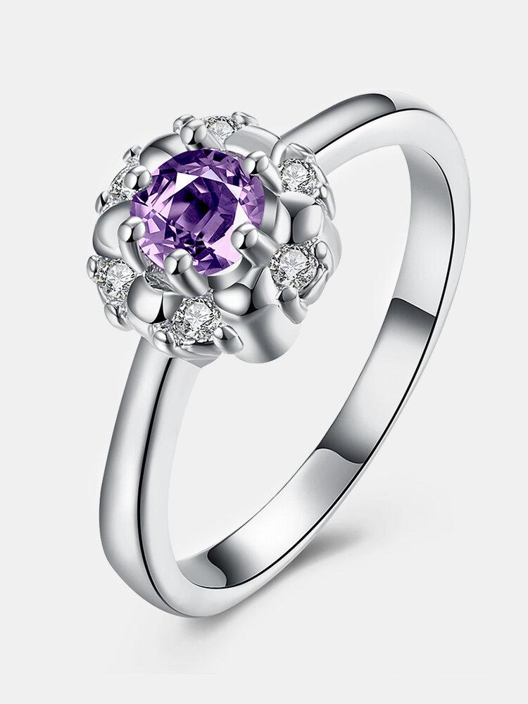 YUEYIN Sweet Ring Flower Big Zircon Ring for Women Gift