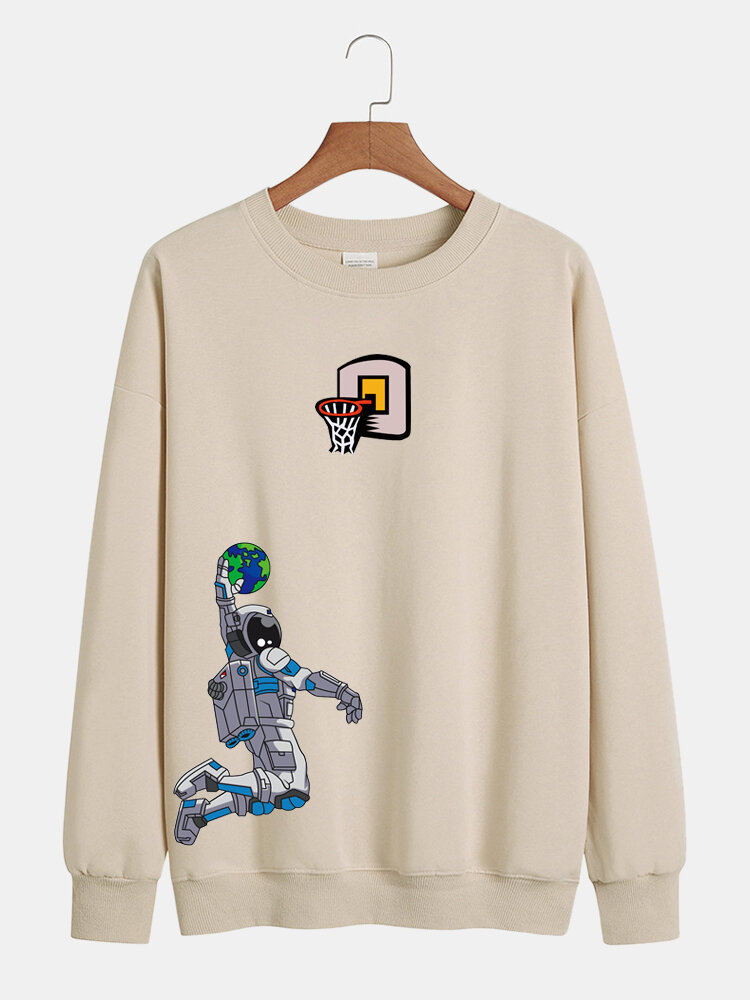 Mens Astronaut Graphic Print Relaxed Fit Round Neck Lounge Sweatshirt