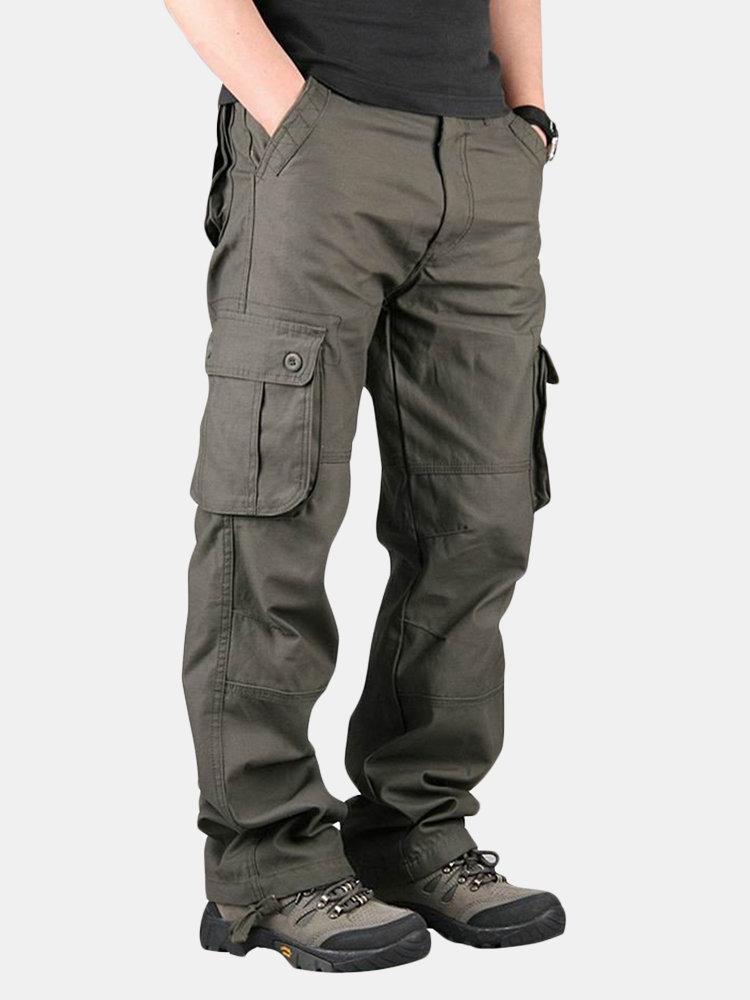 Pantalones Cargo Casuales Amplios De Algodon Con Multi Bolsillos De Talla Grande Para Hombres Newchic