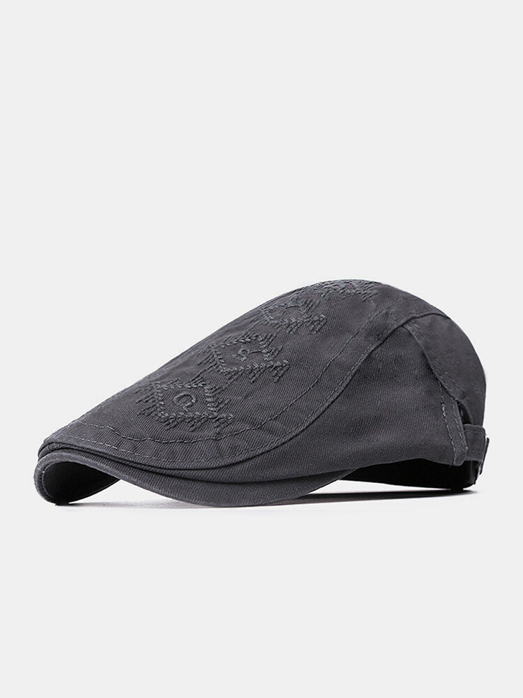 Men Washed Distressed Cotton Solid Argyle Letter Pattern Embroidery Simple Sunscreen Beret Flat Cap