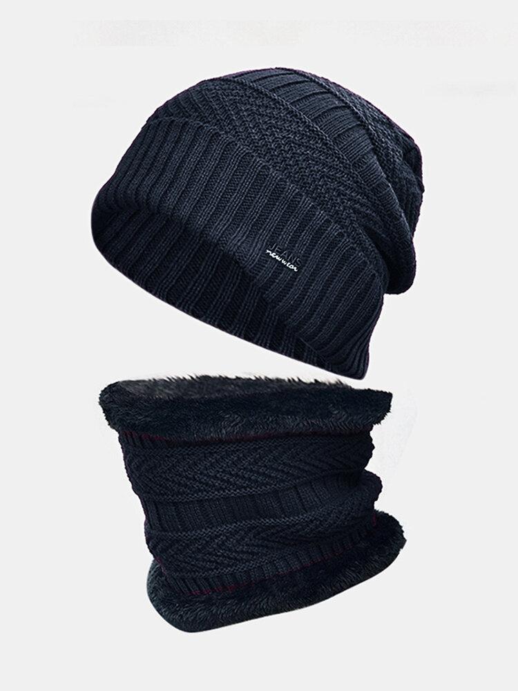 メンズウールPlus厚い冬は暖かい首の保護防風ニット帽を保ちます
