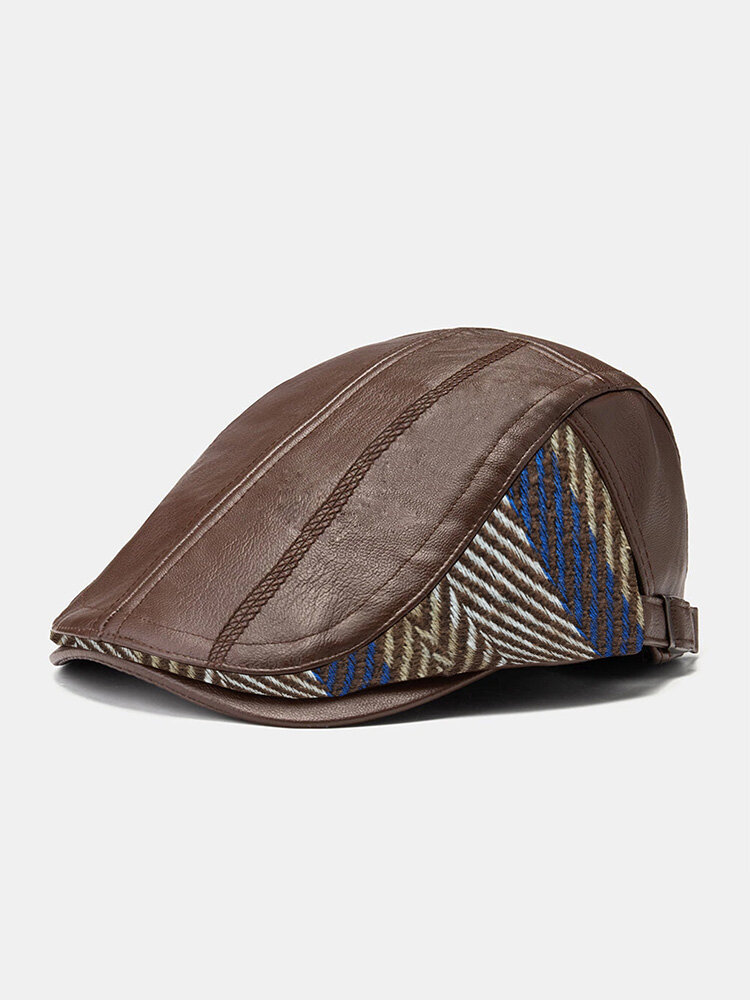 Collrown Men PU Color Contrast Stripe Knitted Patchwork Embroidery Thread Side Adjustable Warmth Casual Beret Flat Cap