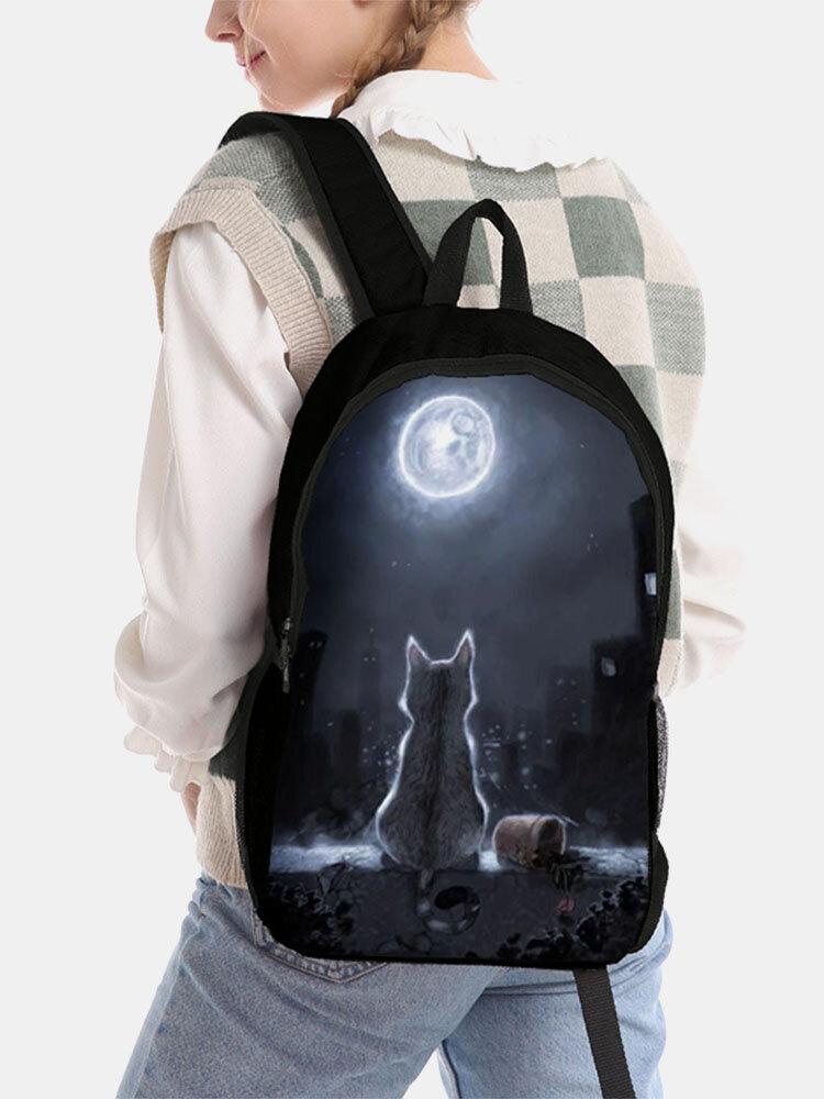 Women Men Oxford Cat Back View Moon Pattern Printing Backpack