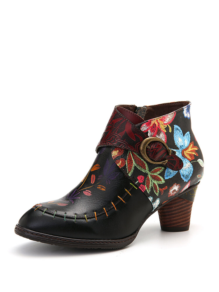SOCOFY Colorful Stitching Painted Flower Genuine Leather Elegant Ankle Boots