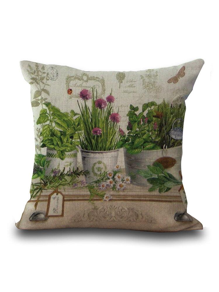 花植物プリントデコレーションクッションカバースクエアコットンリネン枕カバー