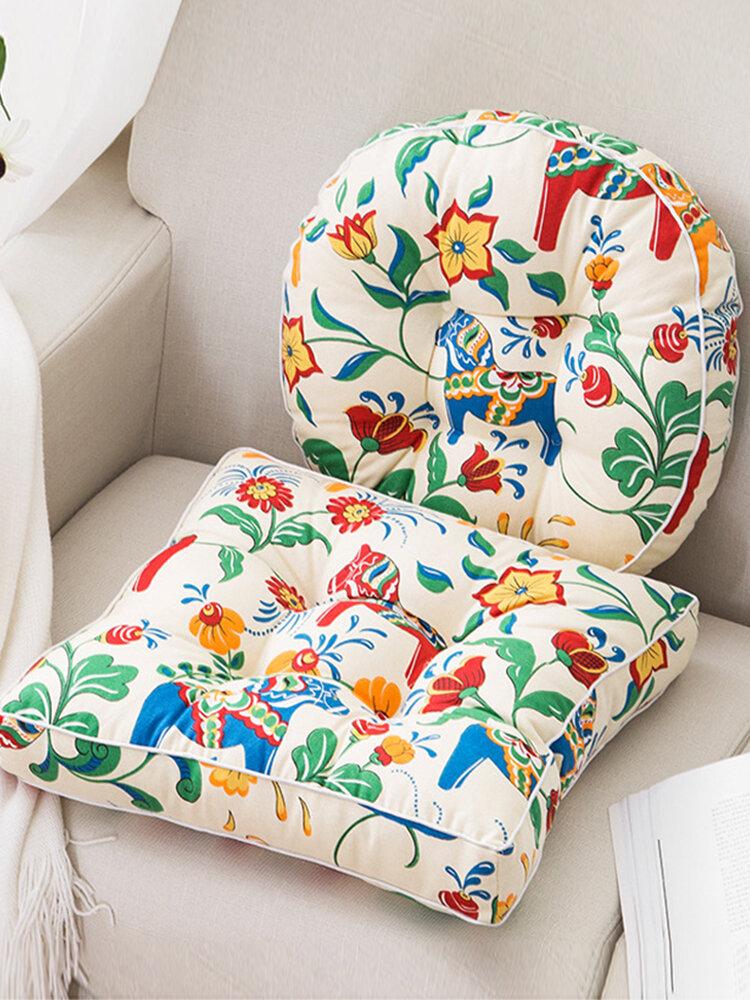 洗える厚みのあるコットンリネンシートクッションスクエアラウンドパフホームソファ瞑想シートクッション