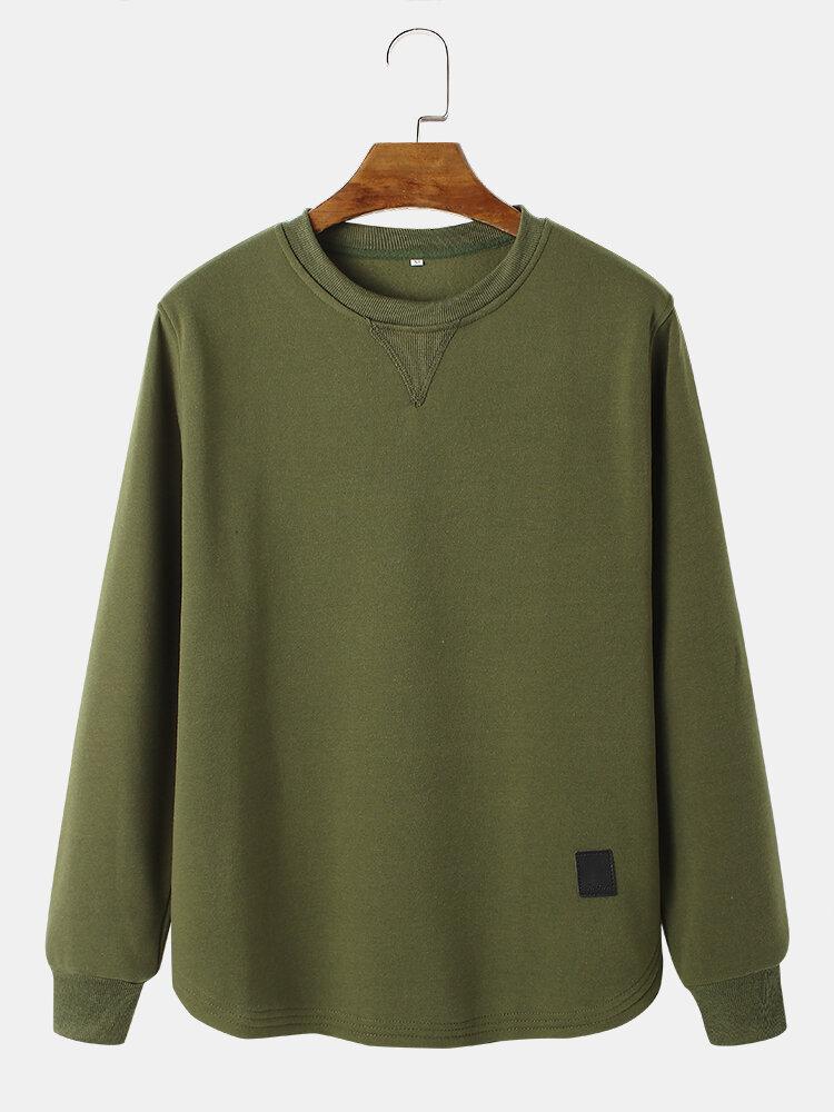 Mens Solid Color Crew Neck Casual Tab Hem Pullover Sweatshirt
