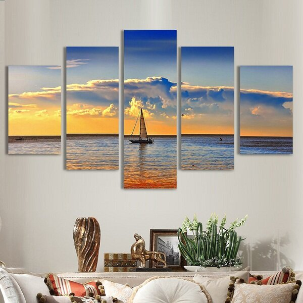 5Pcs Artistic Dusk Sea Painted Decoration Bedroom Wall Art Home Decor