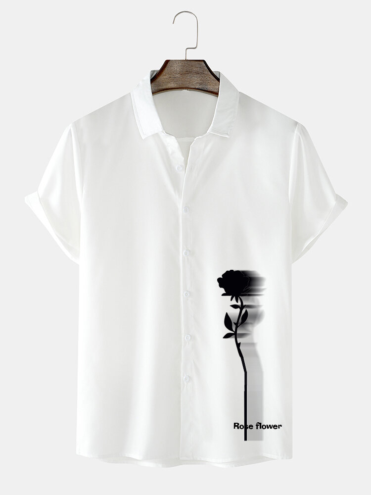 Mens Rose Shadow Side Print Lapel Street Short Sleeve Shirts