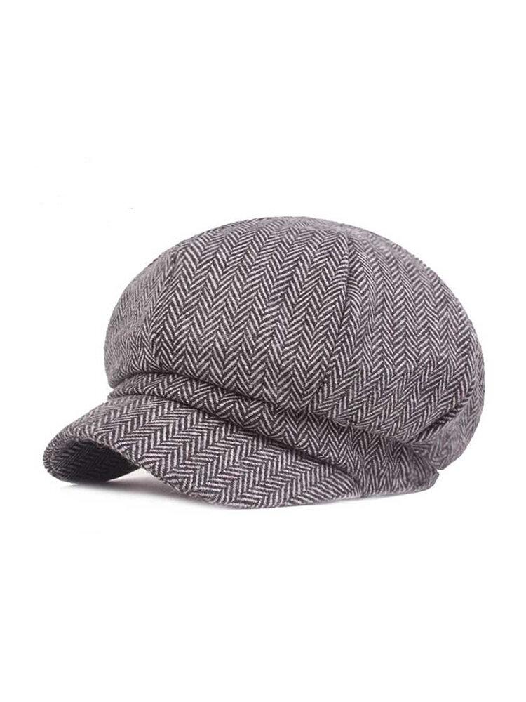 Women Adjustable Vintage Cotton Newsboy Cap Warm Beret Cap Comfortable Flat Cabbie Hat Octagonal Cap