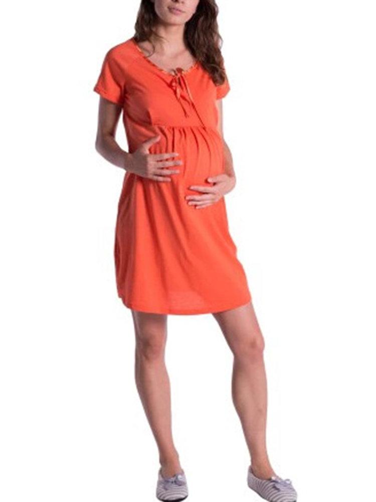 النساء الحوامل متعددة الألوان مريح فساتين عادية