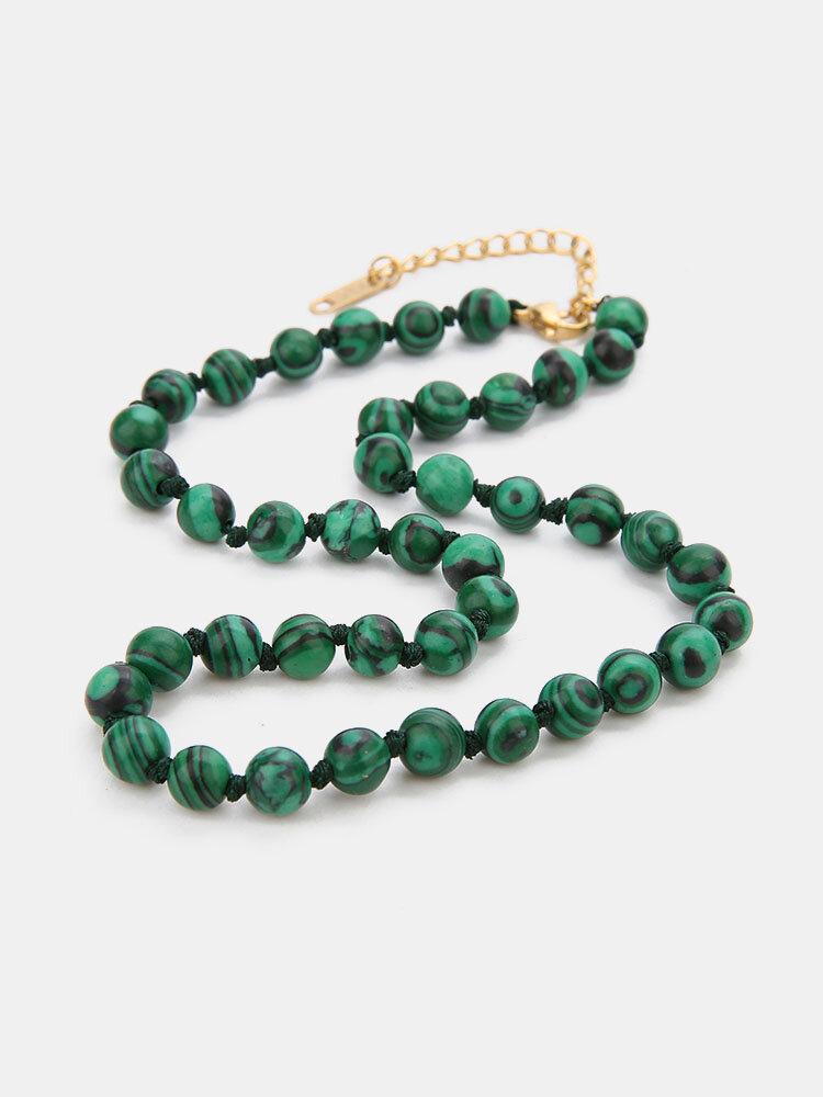 Ethnic Semi-precious Stone Beaded Adjustable Thick Round Bead Necklace