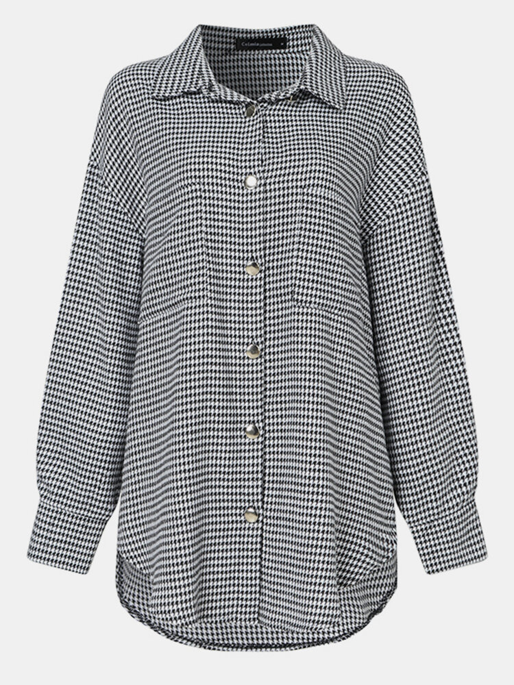 Plaid Print Button Pocket Long Sleeve Casual Blouse for Women