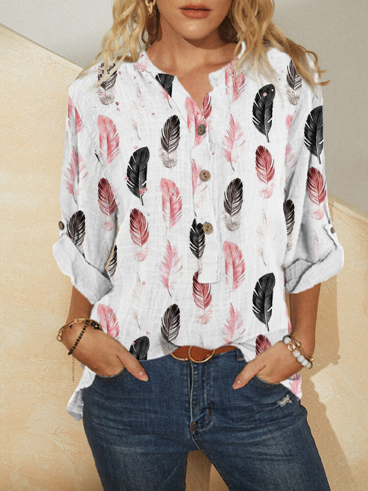 Women Feather Print Long Sleeve Button Stand Collar Blouse