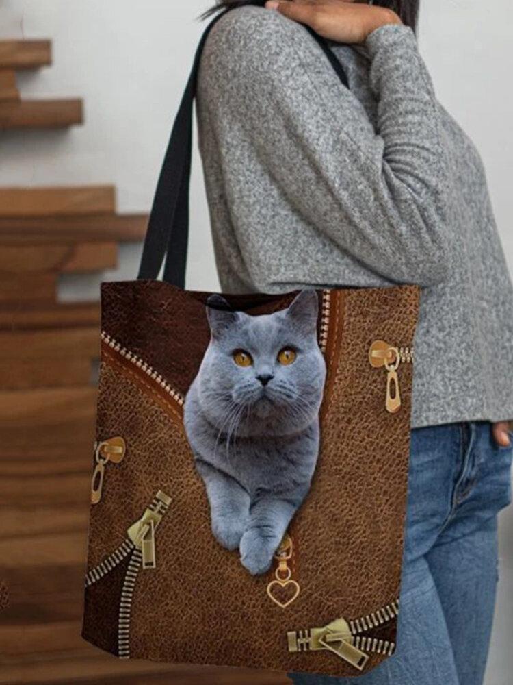 Women  Felt Cute Cat Print Handbag Tote