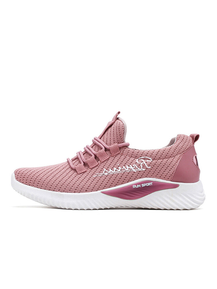 Women Letter Lace Up Lightweight Running Mesh Sneakers