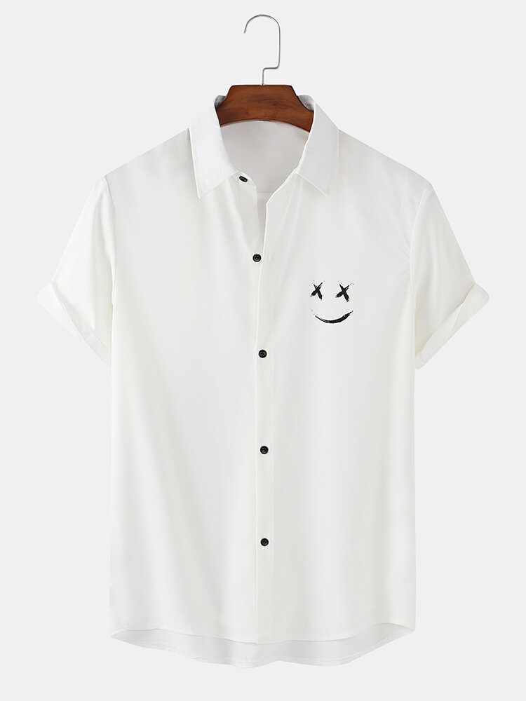 Mens Solid Color Smile Face Print Loose Light Short Sleeve Shirts