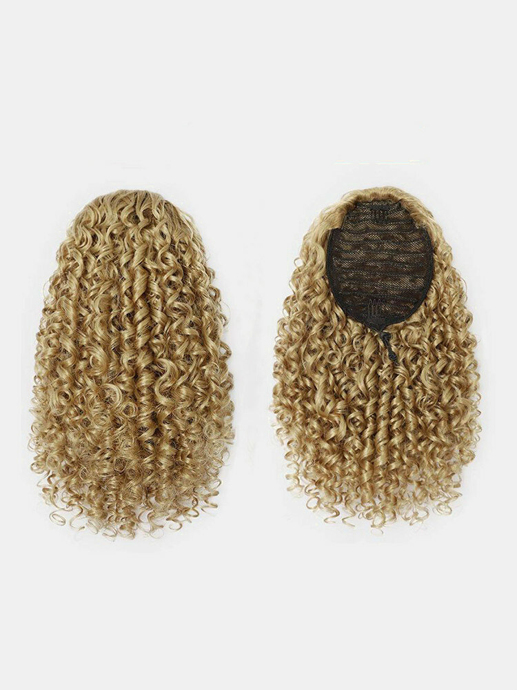 8 Color Africa Small Curly Ponytail Soft Fluffy Gradient Middle-Length Curly Wig Piece