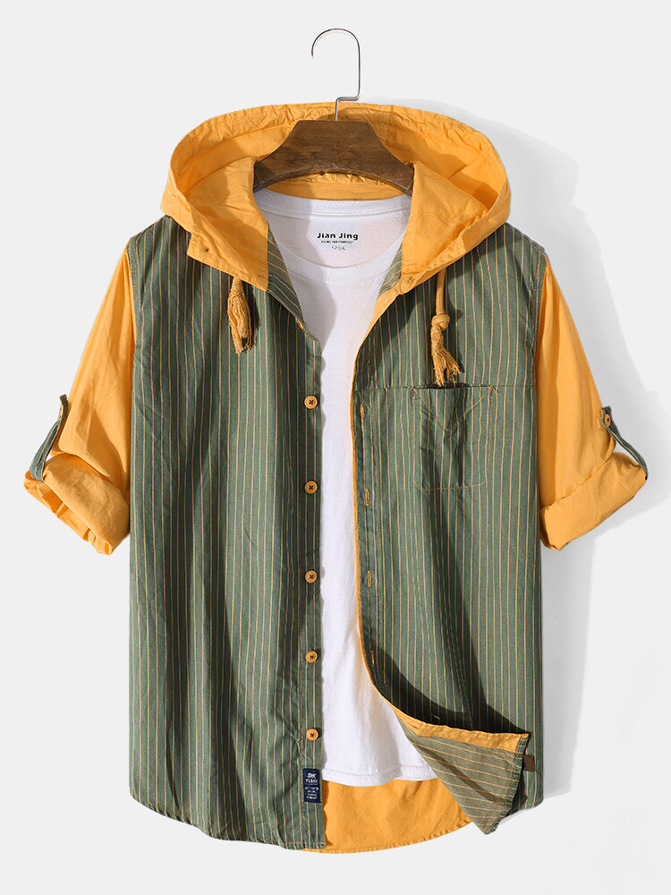 Mens 100% Cotton Stripe Patchowork Solid Color Hooded Shirt With Pocket