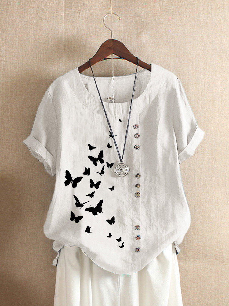 Butterflies Print Button T-shirt