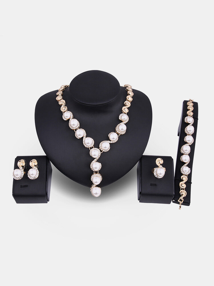 18K Gold Necklace Pearl Earrings Ring Rhinestone Wedding Party Jewelry Set Gift for Women