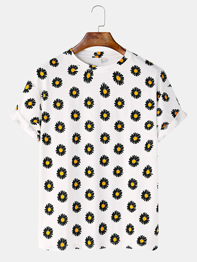 Cotton Small Daisy Print Light Breathable Casual Round Neck T-shirt  For Men Women