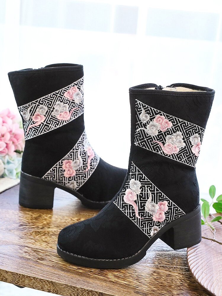 Winter Reteo Colorful Clouds Embroidered Warm Lining Side-zip Comfy Women's Chunky Heel Short Boots