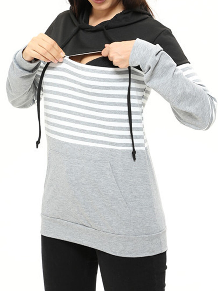 Maternity_Multifunction_Striped_Colorblock_Hooded_Nursing_Sweater