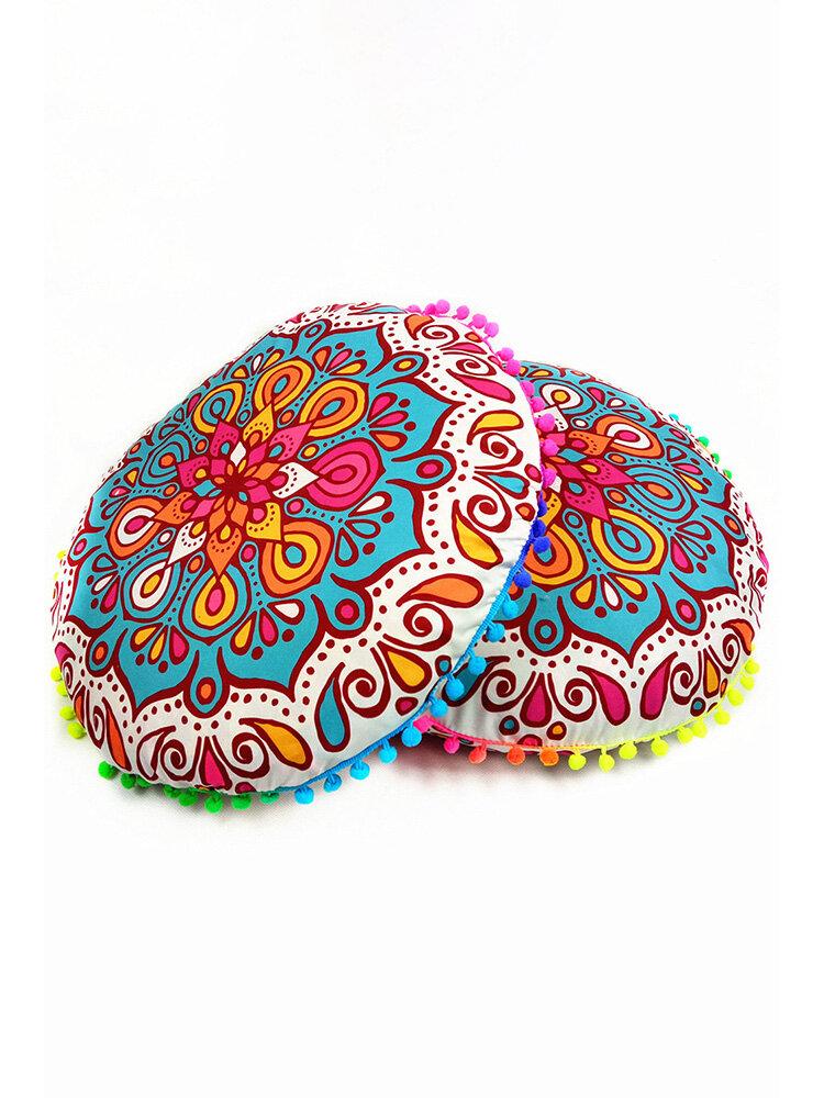 Mandala floral boêmia com gradiente redondo capa de almofada de assento para quarto doméstico e decoração com arte