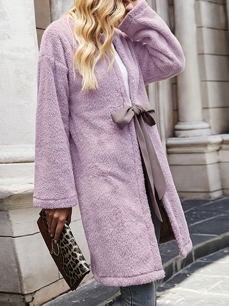 Solid Long Sleeve Tie Front Plush Coat for Women