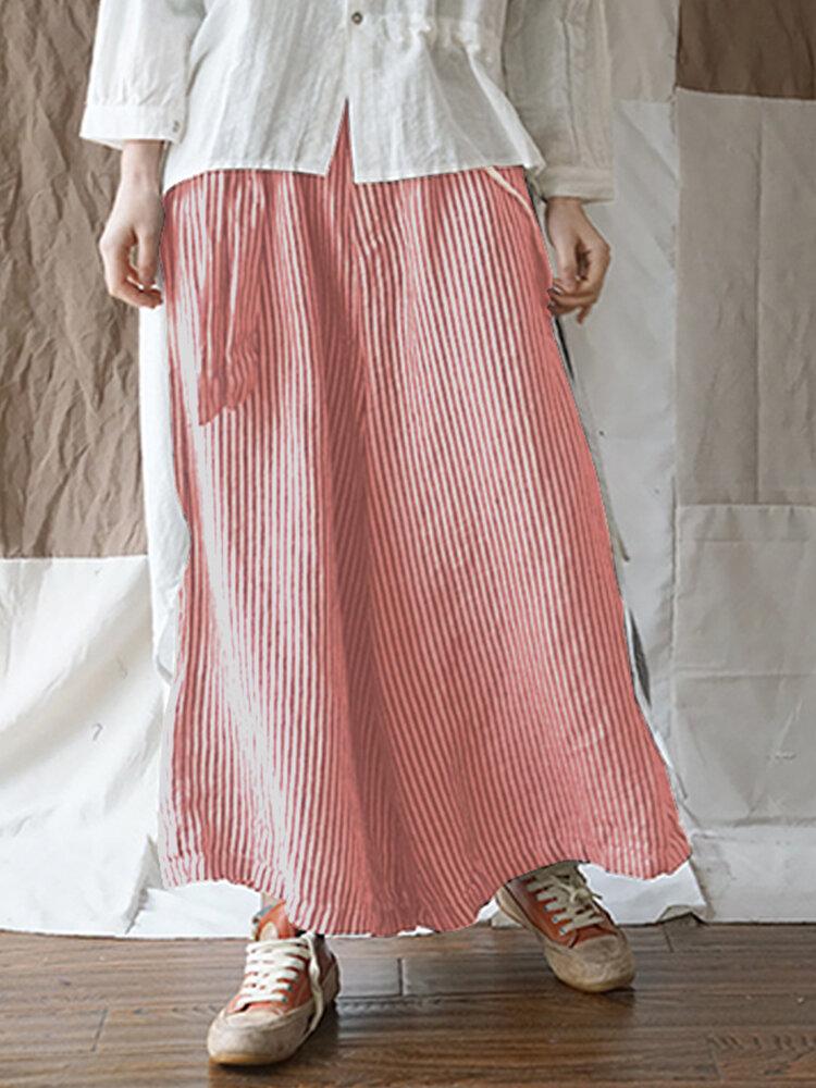 Casual Plaid Loose Plus Size Wide Leg Pants with Belt
