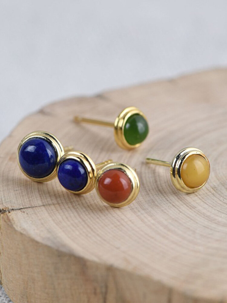 925 Silver Gold-Plated South Red Earring  Beeswax Jasper Lapis Ear Stud Women Jewelry