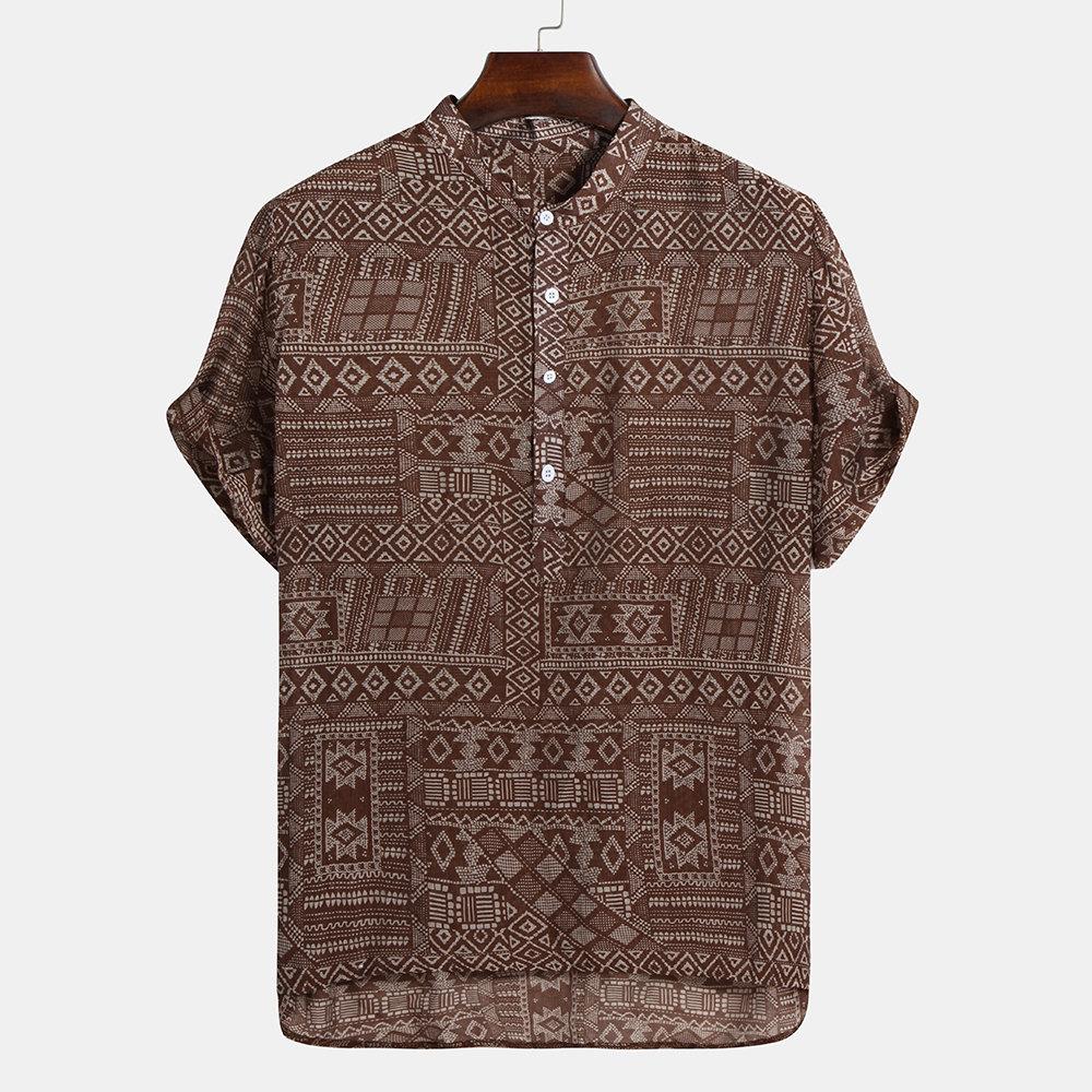 Ethnic Style Short Sleeve Henley Shirts